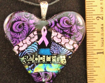 Breast Cancer Awareness large dichroic heart-shaped fused glass pendant #1
