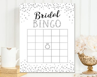 Bingo Game - Bridal Bingo - Black and Silver Glitter Bridal Bingo - Printable Bridal Shower Bingo Game - Instant Download - BS36
