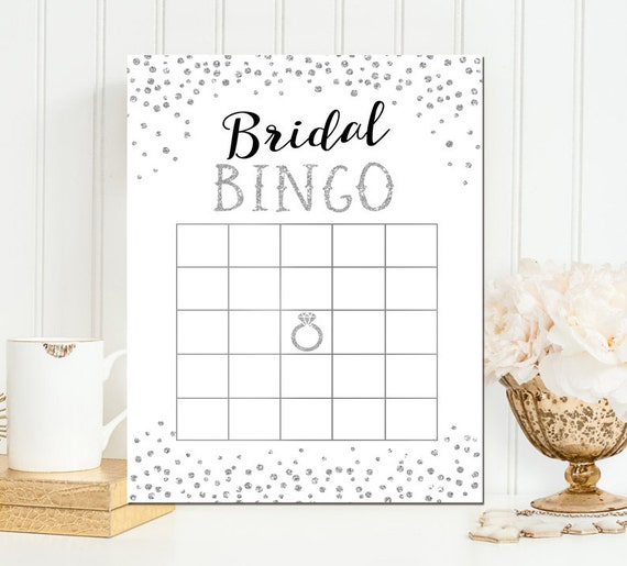 Bingo Game - Bridal Bingo - Black and Silver Glitter Bridal Bingo - Printable Bridal Shower Bingo Game