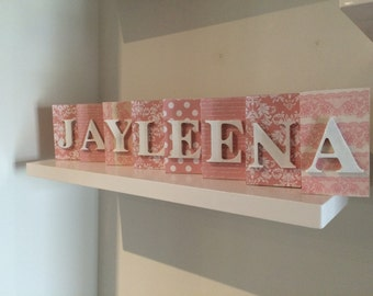 Personalised Name Blocks - Baby Pink