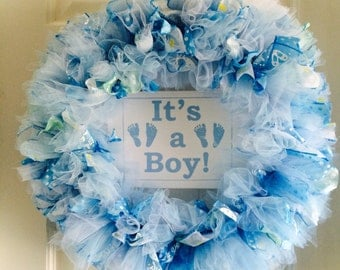 Baby Boy Wreath/Welcome Home Wreath/Gender Reveal Wreath