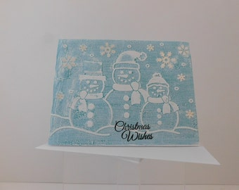 SNOWMEN CHRISTMAS CARD Embossed Snowmen Christmas Wishes, Snow Flakes, Christmas Card, Darling Snowmen, Chilly Snowflakes, Happy Holidays
