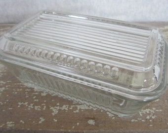 Vintage Glass Refrigerator Dish Glass Covered Dish Smaller Size