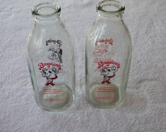 Pair Broguiere's Quart Glass Milk Bottles