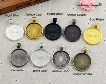 1 inch (25mm) round Blank Bezel Cabochon Setting,Antique Bronze Round Cameo Cabochon Base Settings--9 Colors available