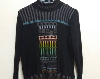 Vintage sweater chamois /multicolour/42 size/made in japan