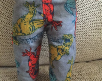 Pajama or Lounge Pants for American Boy or Other 18 Inch Dolls, Handmade, Dinosaurs.