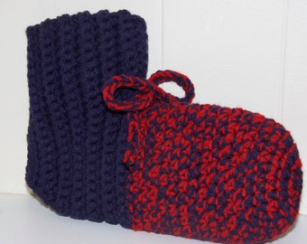 Men's Crochet Booties - Navy Blue & Cherry Red with Bow