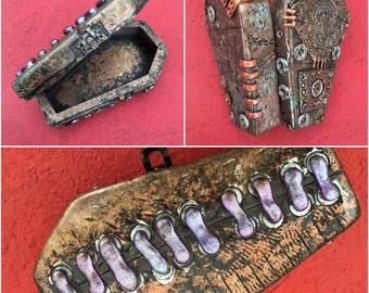 "5"" Steampunk coffin jewelry box"