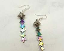 UFO AND STARS Dangle Earnings ~Holographic