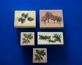 rubber stamps STAMP O RAMA acorns and trees