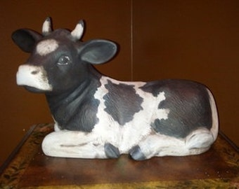 Ceramic Cow, Decorative Cow, Cow Statue, Cow Decor, Kitchen Cow, Standing Cow, Black and White Cow, Kitchen Decoration, Yard Ornament Cow