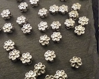 50 Antique Silver 6mm 6 Petal Flower Spacer Beads