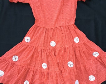 1970s Red Polka Dot Square Dancing Dress