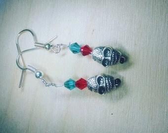 Scarlet Red and Teal Sugar Skull Earrings