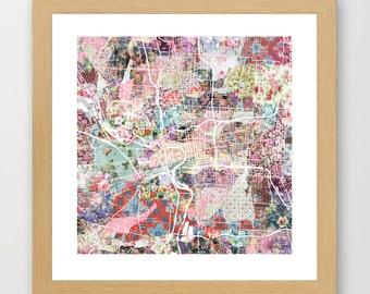 Columbus map | Columbus Painting | Columbus Art Print | Columbus Poster | Ohio map | Flowers compositions