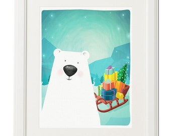 Christmas gift-Bear illustration-Animal drawing-Printable art-Nursery-Digital poster-Home decor-Instant download-Polar bear
