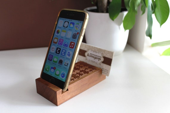 Wooden iphone stand business card holder european pear for Iphone business card holder