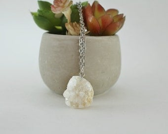 Simple White Druzy Necklace