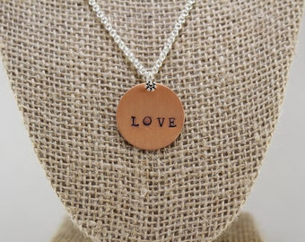 """Hand-Stamped """"Love"""" Pendant Necklace"""