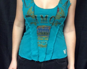 Repurposed teal tank top with globe, letters, and plant motif