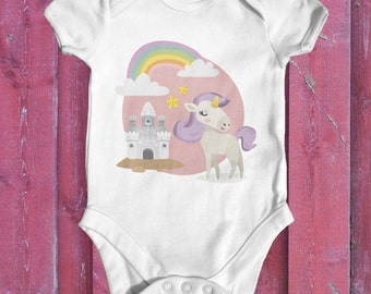 Unicorn Castle baby bodysuit | cute baby clothes | baby girl outfit | baby shower gift | fantasy baby bodysuit | animal baby bodysuit