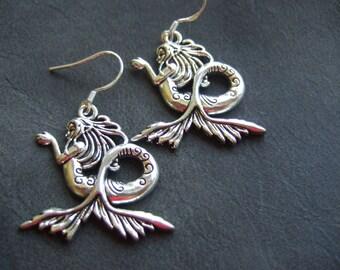 Mermaid earrings, cthulu from the deep sea, siren earrings, mermaid jewellery, mermaid jewelry, mermaid's tears, mythical mermaid earrings