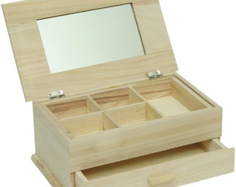Mirrored jewelry box, wooden, with compartments and drawer, suitable for decoupage, cm 29x17x12