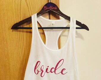 Glitter Bride White Tank - Fiance Bridal Gift - Tank top