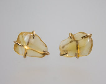 Citrine Gemstone Prong Setting Studs in Gold and Yellow Quartz Crystal