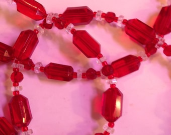 Vintage Red and Clear Glass Beads Opera Length Necklace, 46 Inches Total Length