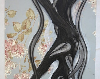 Hand drawn Floral charcoal and acrylic drawing on Ralph Lauren wallpaper