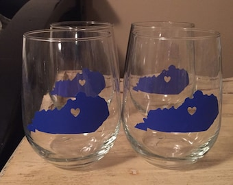 set of 4 KY stemless wine glasses