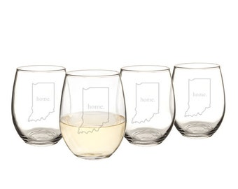 21 oz. Home State Stemless Wine Glasses (Set of 4)