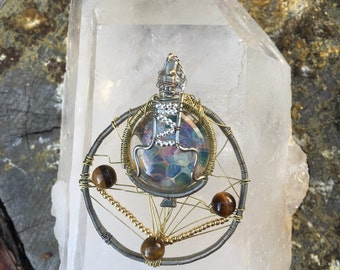 Wire and glass with tigers eye