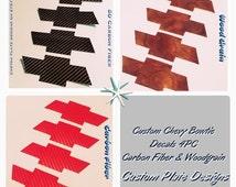 Chevy Bowtie Decals Custom Handmade 4PC Set Wood Grain Carbon Fiber Black Red 3M Adhesive High Quality Universal Decals Windows Doors Pillar