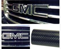 GMC Decal Sheet 3D Carbon Fiber Black Emblem 3M Adhesive High Quality Camaro Corvette Impala Denali Tahoe Suburban Custom