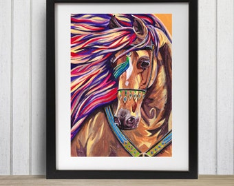 Horse Art Print - All Dressed Up A3