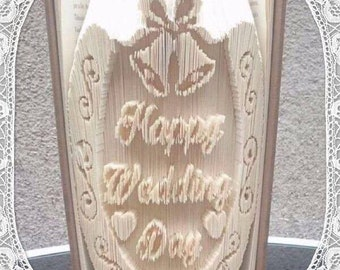 Happy Wedding Day Horseshoe Book Folding Art Pattern Unusual Unique Wedding Gift