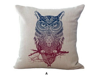 Sale -  Owl or Wolf Decorative Pillow Case