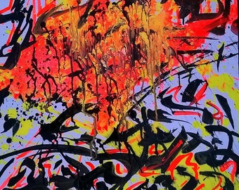 Contemporary Abstract Expressionism Acrylic Painting, Street Art Graffiti Urban Large Painting