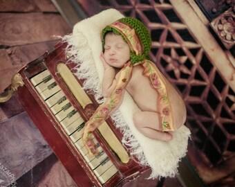 Floral Baby Bonnet - Photo Prop Bonnet - Newborn Bonnet - Ribbon Trimmed Baby Bonnet - Baby Girl Bonnet - Crochet Baby Bonnets