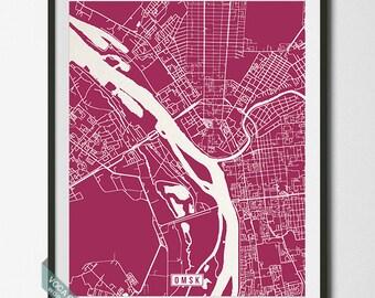 Omsk Print, Russia Poster, Omsk Poster, Omsk Map, Russia Print, Russia Map, Street Map, Map Prints, Home Decor, Dorm Decor