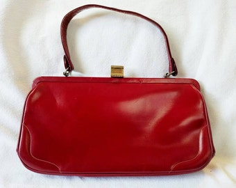 Mam'selle Red Leather Top Handle Handbag