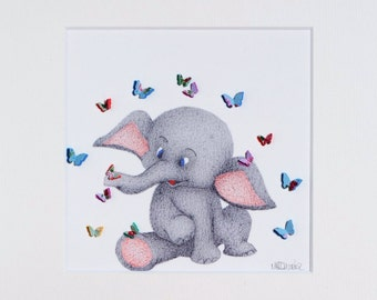 Baby Elephant with Butterflies - Nursery Wall Art - Baby Shower Gift - Childrens Bedroom - Christening Gift - Safari Animal Art Print