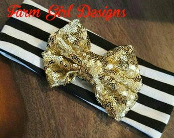 Black and White Striped Headband with Gold Sequined Bow