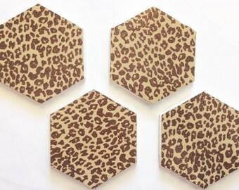 Coasters, Cheetah Print Coasters, Decorative Coasters, Set of 4 Coasters, Tile Coasters, Drink Coasters, Ceramic Coasters Active