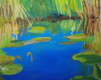 Waterlilies Pastel Painting