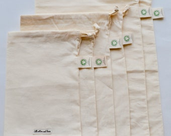Set of 6 - Organic Cotton Produce Bag - GOTS Approved