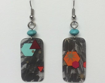 Upcycled Card Earrings - Gray Confetti + Turquoise Beads